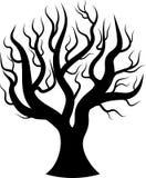 Czarnej sylwetki nagi drzewo Zdjęcia Stock