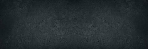 Czarnej szorstkiej betonowej ściany szeroka tekstura - ciemny grunge tło zdjęcie royalty free