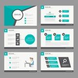 Czarnej zielonej prezentacja szablonu sprawozdania rocznego broszurki ulotki elementów ikony płaski projekt ustawia dla reklamowe Obraz Royalty Free