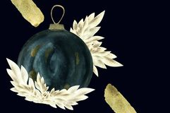 czarni akwareli boże narodzenia balowi z złotym wystrojem ilustracja wektor