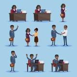 Czarni biznesmeni w secie ikony ilustracji