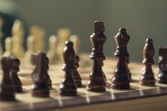 Czarni boczni szachowi kawałki Zdjęcia Royalty Free