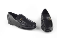 Czarni colour skóry sandały Zdjęcia Stock