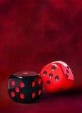 Czarni czerwoni kostka do gry Obraz Royalty Free