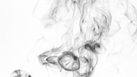 Czarni dymni pierścionki iść up, na białym tle zdjęcie wideo