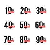 Czarni dyskontowi zawiadomienia ustawiający z sprzedaż procentów liczbami Od dziesięć, dziewiećdziesiąt royalty ilustracja