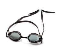 Czarni gogle dla pływać na białym tle Obraz Royalty Free
