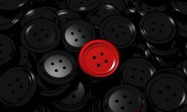 Czarni guzików ubrania i jeden unikalna czerwień Zdjęcie Stock