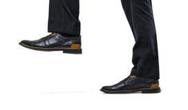 Czarni i brown eleganccy szefa ` s cieki podchodzili zakończenie odizolowywającego na białym tle Fotografia Stock