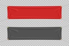 Czarni i czerwoni tekstylni sztandary z fałdami Ilustracji