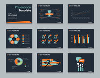 Czarni infographic Powerpoint szablonu projekta tła Biznesowy prezentacja szablonu set Zdjęcie Stock