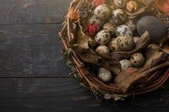 Czarni jajka w gniazdeczku suche gałąź na czarnej desce Wielkanoc styl obrazy royalty free
