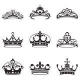 Czarni korony ikony sety Zdjęcie Stock