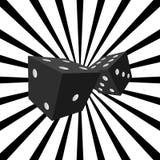 Czarni kostka do gry z promieniowym tłem Fotografia Royalty Free