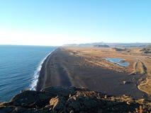 Czarni lodowowie i plaża Fotografia Royalty Free