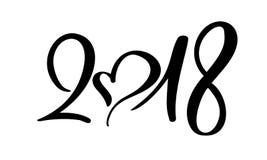 Czarni numerowi boże narodzenia 2018 wręczają patroszonego literowanie na białym tle Kartka z pozdrowieniami projekta szablon z k royalty ilustracja