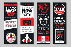 Czarni Piątek sprzedaży plakata sety Fotografia Royalty Free
