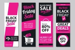 Czarni Piątek sprzedaży plakata sety Zdjęcia Royalty Free