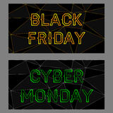 Czarni Piątku i cyber Poniedziałku sztandary Fotografia Stock