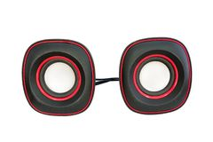 Czarni podwójni audio mówcy na białym tle Obraz Royalty Free