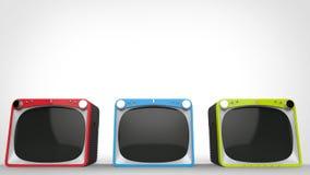 Czarni retro telewizory z czerwieni, błękita i zieleni przodami, ilustracji