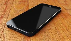 Czarni smartphones z pustym ekranem na drewnianym biurka tle, Fotografia Royalty Free