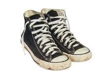 Czarni sneakers odizolowywający na białym tle z ścinek ścieżką, Obrazy Stock