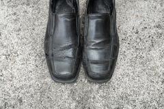 Czarni starzy buty Zdjęcia Stock