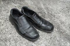 Czarni starzy buty Obrazy Stock