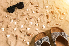 Czarni sunglass i, seashell na piasku z miejscem dla twój teksta Odgórny widok Zdjęcie Stock