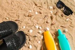 Czarni sunglass i, seashell na piasku z miejscem dla twój teksta Odgórny widok Fotografia Royalty Free
