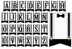 Czarni suspenders i Set białe flaga z polek kropkami Mały mężczyzna sztandar Zdjęcia Stock