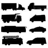 Czarni sylwetka samochody ustawiający Wektor EPS 10 Fotografia Stock