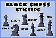 Czarni szachowych kawałków majchery inkasowi Set szachowe etykietki royalty ilustracja