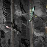 Czarni węglowi depozyty Eksploracja i maszyna na widok obrazy stock
