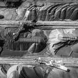 Czarni węglowi depozyty Eksploracja i maszyna na widok obrazy royalty free