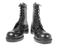 Czarni wojsko buty odizolowywający na bielu obraz royalty free