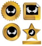 czarni złoto skrzydła royalty ilustracja