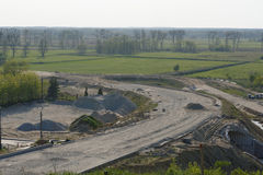 Czarnkow city bypass Spring. Czarnkow construction of the bypass, late afternoon Spring. Continuation of work Royalty Free Stock Photos