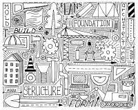 Czarno biały doodle ustawia z budową, projektem i mechanizmem, Zdjęcia Royalty Free
