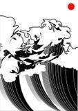 Czarno biały fala Obraz Stock