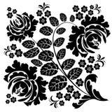 Czarno biały wzór dziki wzrastał Zdjęcie Royalty Free