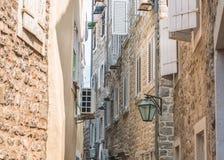 Czarnogóra budva starego miasta Pierwszy wzmianka ten miasto - więcej niż 26 wieków temu Widziimy antycznych domy Zdjęcia Royalty Free