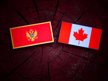 Czarnogórzec flaga z kanadyjczyk flaga na drzewnym fiszorku odizolowywającym fotografia royalty free