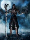 Czarnoksiężnik z czaszką i książką Obrazy Royalty Free