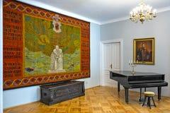 Czarnolas, Polonia - interior de la casa señorial histórica en Czarnolas que recibe el museo de Jan Kochanowski imagen de archivo libre de regalías