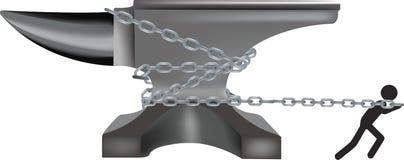 Czarnoskóry ciągnie z łańcuchami kowadło stal Obraz Royalty Free
