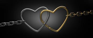 czarny łańcuszkowi serca dwa Obraz Stock