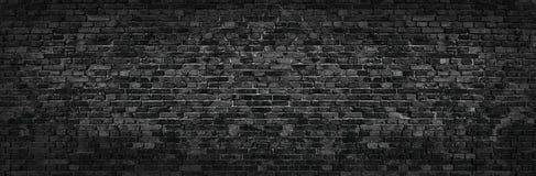 Czarny ściana z cegieł panoramiczny widok w wysoka rozdzielczość zdjęcia stock