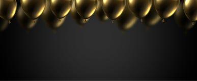 Czarny świąteczny sztandar z złocistymi błyszczącymi balonami Wakacyjny decoratio ilustracji